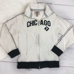 47' Brand White Sox Jacket Baseball Zip Up Sweater